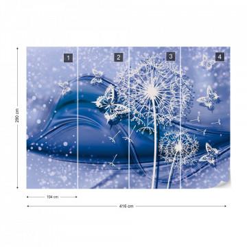 Modern Butterflies And Dandelions Blue Photo Wallpaper Wall Mural