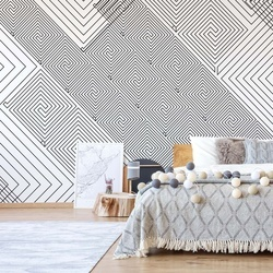 Modern Geometric Pattern White And Grey Photo Wallpaper Wall Mural
