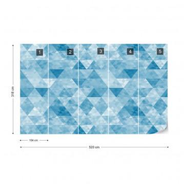 Modern Geometric Triangle Design Blue Photo Wallpaper Wall Mural