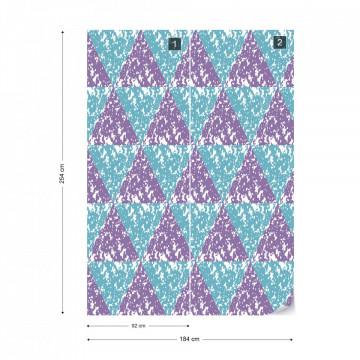 Modern Geometric Triangle Pattern Pink Blue Photo Wallpaper Wall Mural