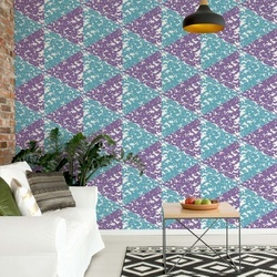 Modern Geometric Triangle Pattern Pink Blue Photo Wallpaper Wall Mural