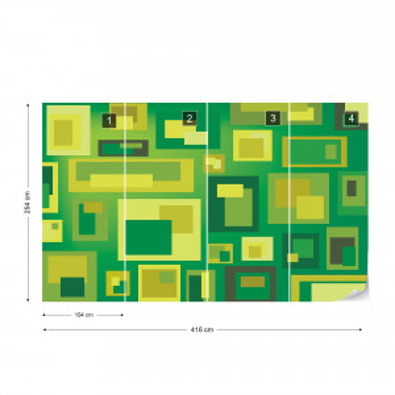 Modern Green Squares Pattern Photo Wallpaper Wall Mural