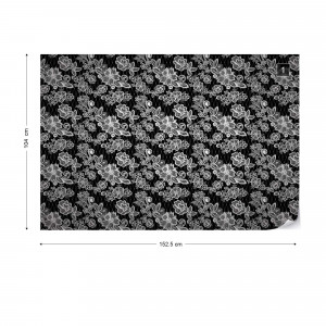 Modern Lace Pattern Black And White Photo Wallpaper Wall Mural