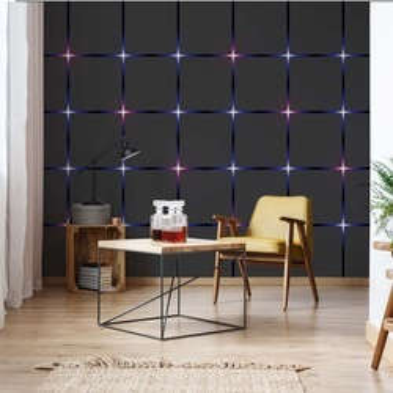 Modern Square Design Purple Lights Photo Wallpaper Wall Mural