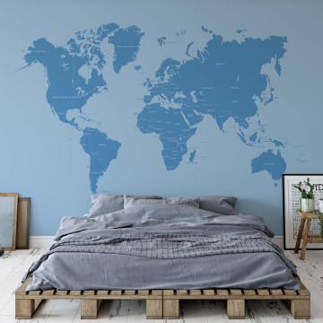 Modern World Map Blue
