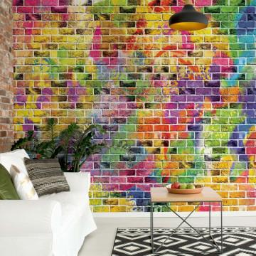 Multicoloured Brick Wall Texture Photo Wallpaper Wall Mural