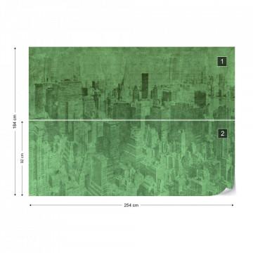 New York City Grunge I Green