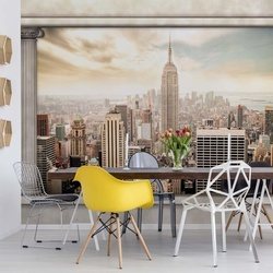 New York City Roman Columns View Photo Wallpaper Wall Mural