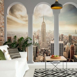 New York City Skyline 3D Archway View Photo Wallpaper Wall Mural