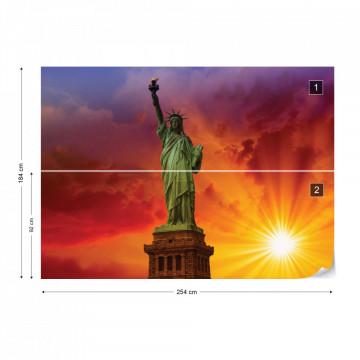 New York Statue Of Liberty Sunset Photo Wallpaper Wall Mural