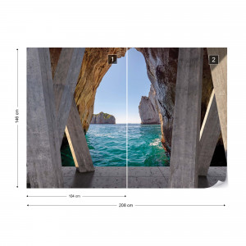 Ocean 3D Modern View Concrete Photo Wallpaper Wall Mural