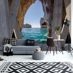 Ocean 3D Modern View Concrete Photo Wallpaper Wall Mural