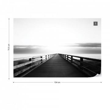 Ocean Pier Black And White Photo Wallpaper Wall Mural