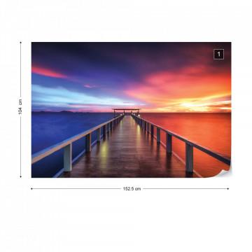 Ocean Pier Dramatic Sunset Photo Wallpaper Wall Mural