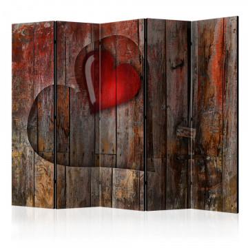 Paravan - Heart on wooden background II [Room Dividers]