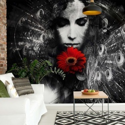 Peacock Feathers Woman Black And White Photo Wallpaper Wall Mural