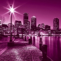 Pink City Skyline Boston Photo Wallpaper Wall Mural