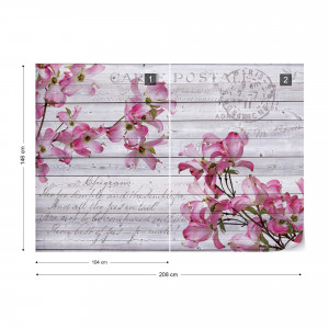 Pink Flowers Wood Plank Texture Vintage Script Farmhouse Chic Photo Wallpaper Wall Mural