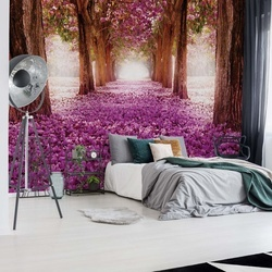 Pink Trees Path Photo Wallpaper Wall Mural