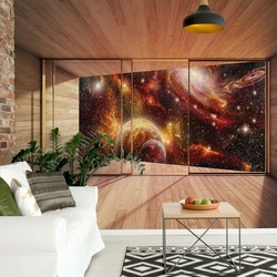 Planets 3D Modern Window View Photo Wallpaper Wall Mural