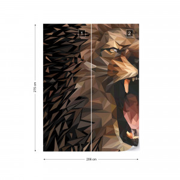 Polygon Lion Dark Colours Photo Wallpaper Wall Mural
