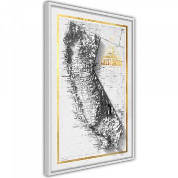 Poster - Raised Relief Map: California