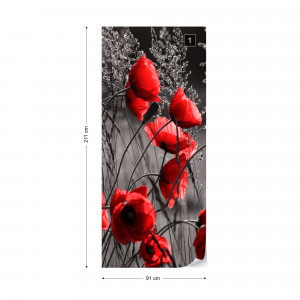 Red Poppies Black And White Photo Wallpaper Wall Mural