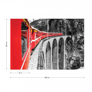 Red Train In The Mountains Photo Wallpaper Wall Mural