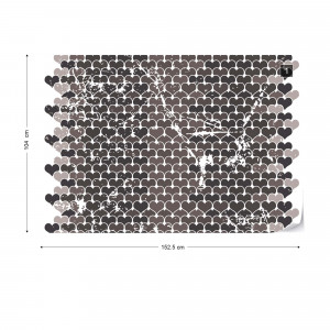 Retro Hearts Pattern Black And White Photo Wallpaper Wall Mural