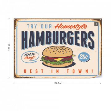 "Retro Sign ""Hamburgers"" Photo Wallpaper Wall Mural"