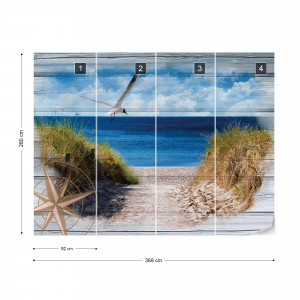Rustic Path To The Beach Wood Planks Photo Wallpaper Wall Mural