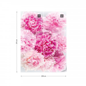 Soft Pastel Pink Flowers Photo Wallpaper Wall Mural