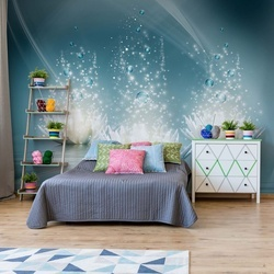 Spa Flowers Sparkles Blue Photo Wallpaper Wall Mural