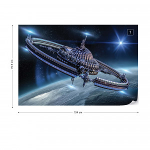 Space Station Galaxy Planets Photo Wallpaper Wall Mural