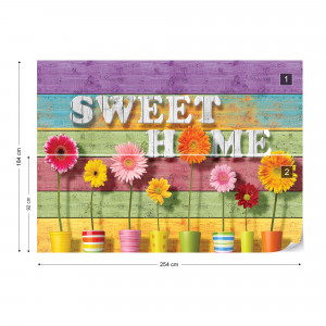 """Sunny Flowers And Colourful Wood Planks """"Sweet Home"""" Photo Wallpaper Wall Mural"""