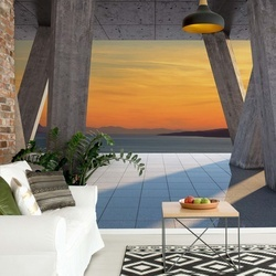 Sunset Ocean 3D Modern View Concrete Photo Wallpaper Wall Mural