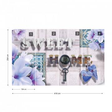 Sweet Home Flowers Vintage Design Blue Photo Wallpaper Wall Mural