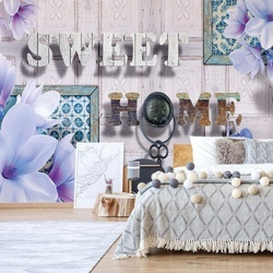 Sweet Home Flowers Vintage Design Blue Photo Wallpaper Wall Mural
