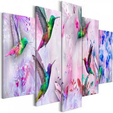 Tablou - Colourful Hummingbirds (5 Parts) Wide Violet
