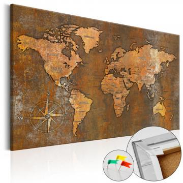 Tablou din plută - Rusty World [Cork Map]