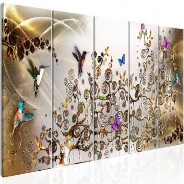 Tablou - Hummingbirds Dance (5 Parts) Gold Narrow