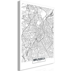 Tablou - Map of Brussels (1 Part) Vertical