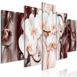 Tablou - Orchid Waterfall (5 Parts) Wide Pink