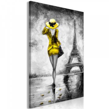 Tablou - Parisian Woman (1 Part) Vertical Yellow