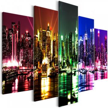 Tablou - Rainbow New York (5 Parts) Wide
