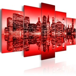 Tablou - Red glow over New York - 5 pieces