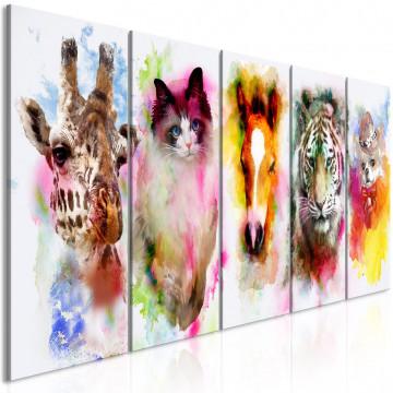 Tablou - Watercolour Animals (5 Parts) Narrow