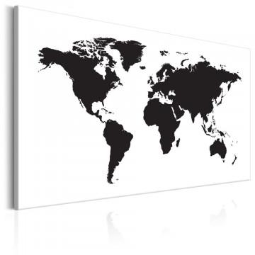 Tablou - World Map: Black & White Elegance