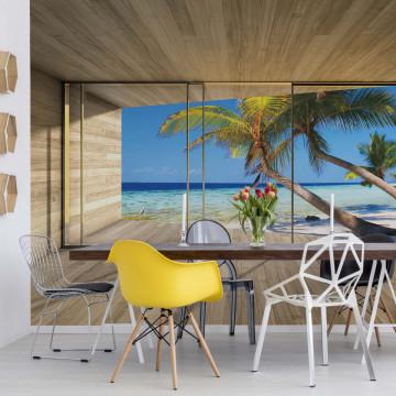 Tropical Beach 3D Modern Window View Photo Wallpaper Wall Mural