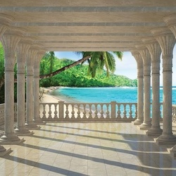 Tropical Beach 3D View Through Columns Photo Wallpaper Wall Mural